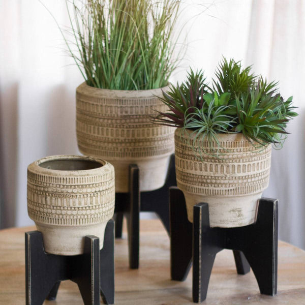 Natural Clay Planters with Wooden Stand, Set of 3 - Upper Earth