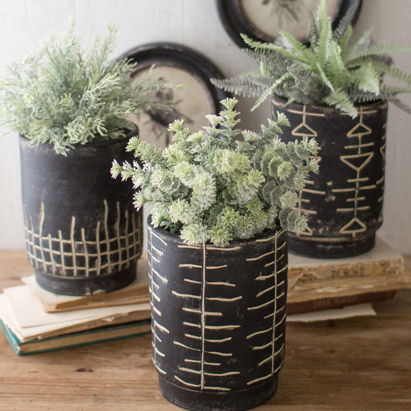 Black and White Clay Planters with Tribal Pattern, Set of 3 - Upper Earth