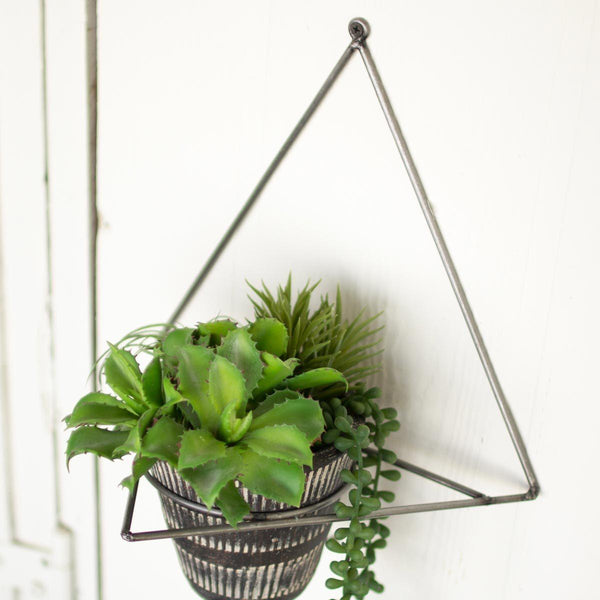 Metal Wall Planter with Black Clay Pot - Upper Earth
