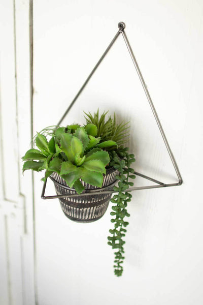 Metal Wall Planter with Black Clay Pot