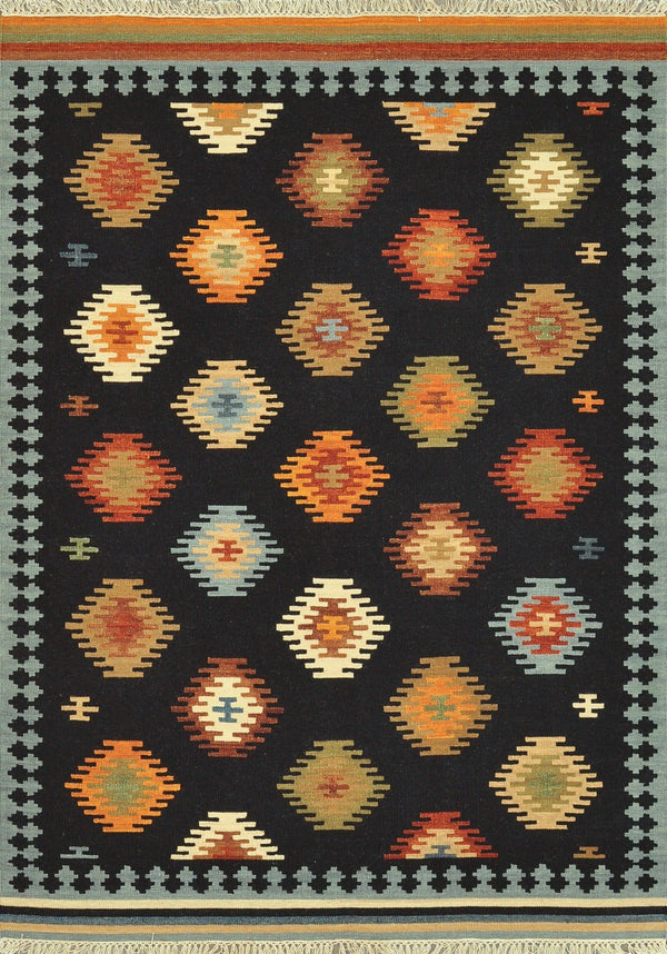 Black Multi Handwoven Wool Area Rug - Isara - Upper Earth