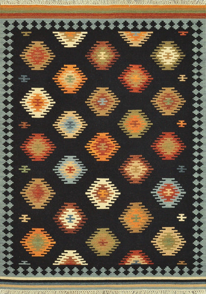Isara Handwoven Area Rug in Black Multi - Upper Earth