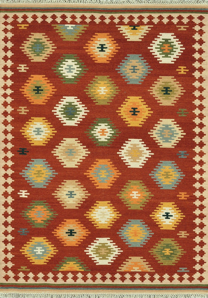 Isara Handwoven Area Rug in Red Multi - Upper Earth