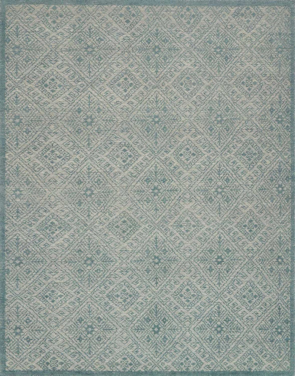 Aqua Hand Knotted Wool Area Rug - Java - Upper Earth