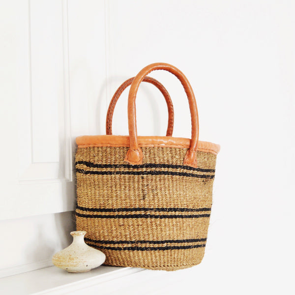 Traveler - Khaki & Black Sisal Basket