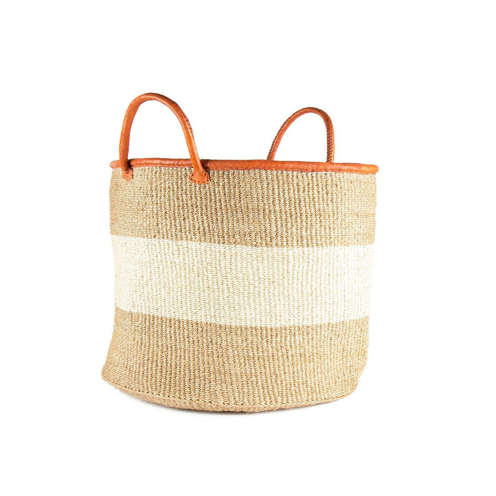 Seasider - Khaki & White Sisal Basket - Upper Earth
