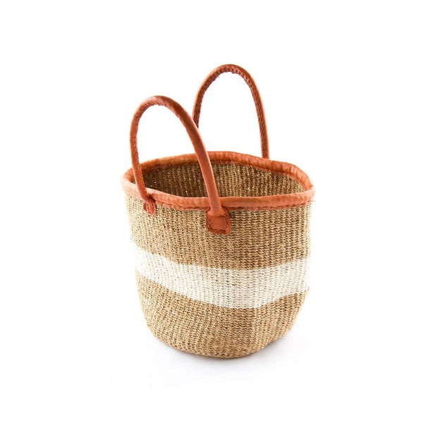 Traveler - Khaki & White Sisal Basket