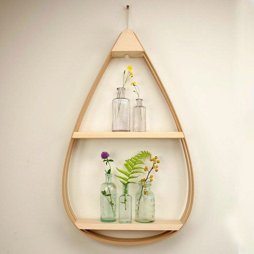 Large Eco-Friendly Wooden Shelf - 2 shelves with Natural Finish - Upper Earth