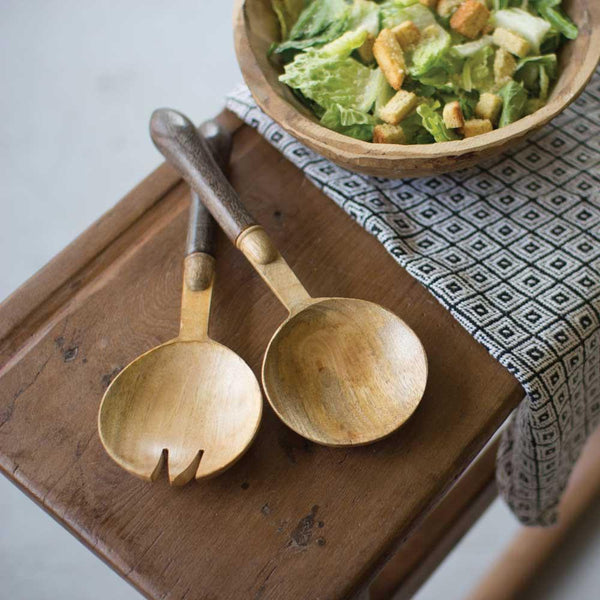 Set of 2 Wooden Salad Servers