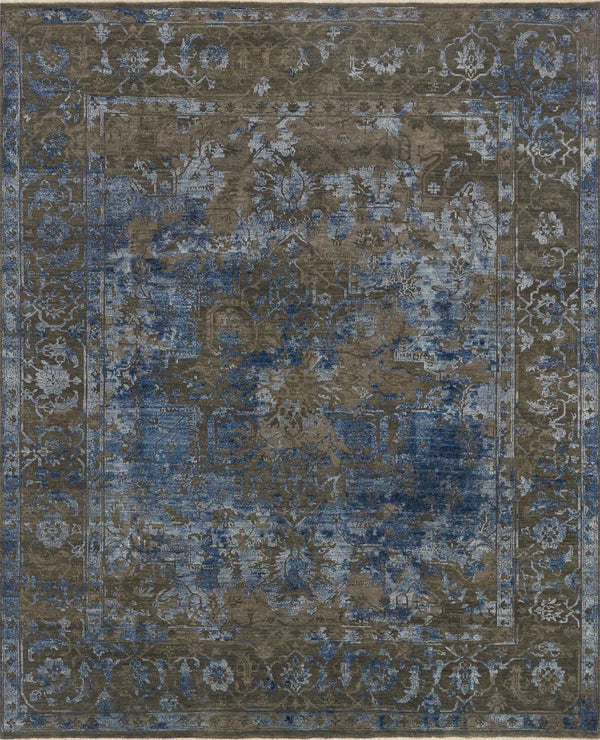 Ash & Blue Wool Area Rug - New Artifact - Upper Earth