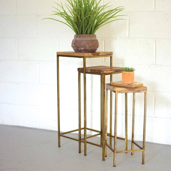 Set 3 Nesting Tables w/ Woodtops & Antique Brass Base