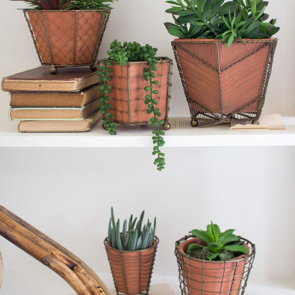 Terracotta Clay Planters with Metallic Wire Baskets - Upper Earth