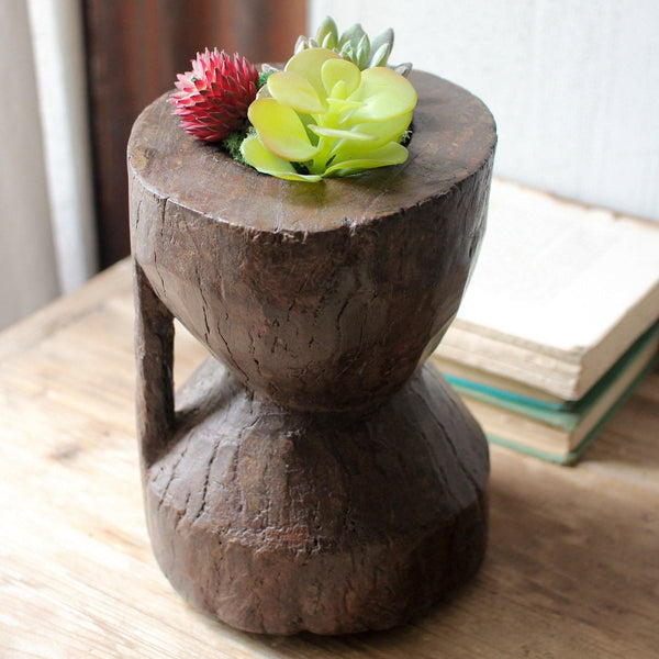 Repurposed Okhli Bowl Wood Planter - Upper Earth