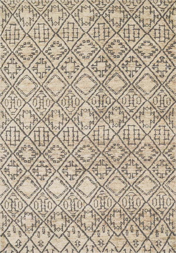 Beige Handknotted Jute & Wool Area Rug - Sahara - Upper Earth