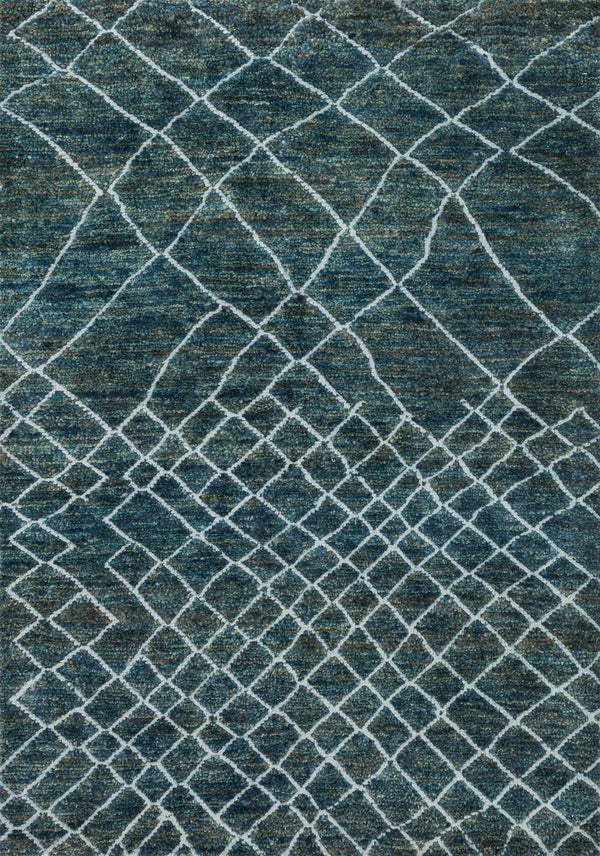 Blue Hand-knotted Jute & Wool Area Rug - Sahara - Upper Earth