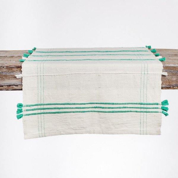 Handspun Cotton Table Runner with Chunky Fringe - Upper Earth