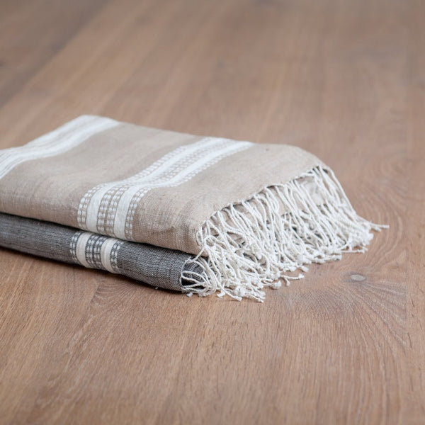 Stripes Bath Sheet (natural stripes) - Upper Earth