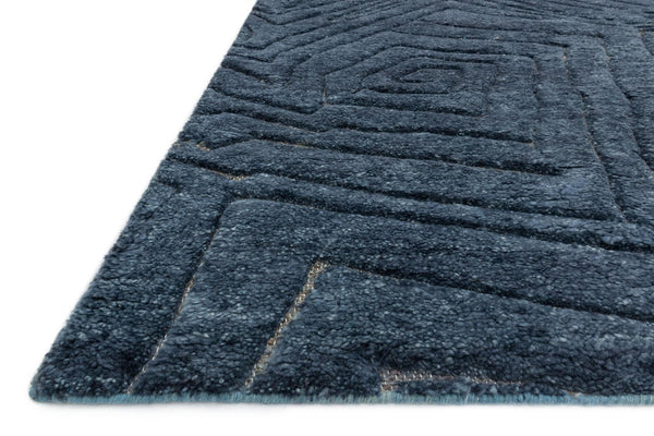 Tanzania Hand-Knotted Area Rug in Navy - Upper Earth