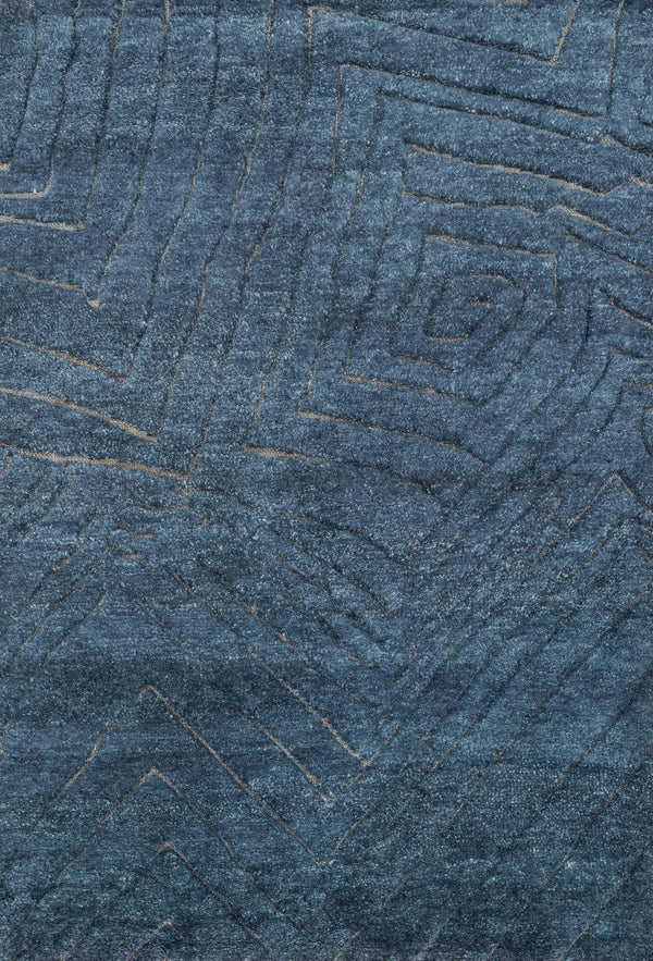 Navy Hand-Knotted Wool & Jute Area Rug - Tanzania - Upper Earth