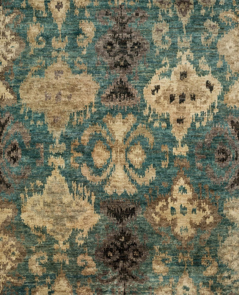 Xavier Hand-Knotted Area Rug in Aqua - Upper Earth