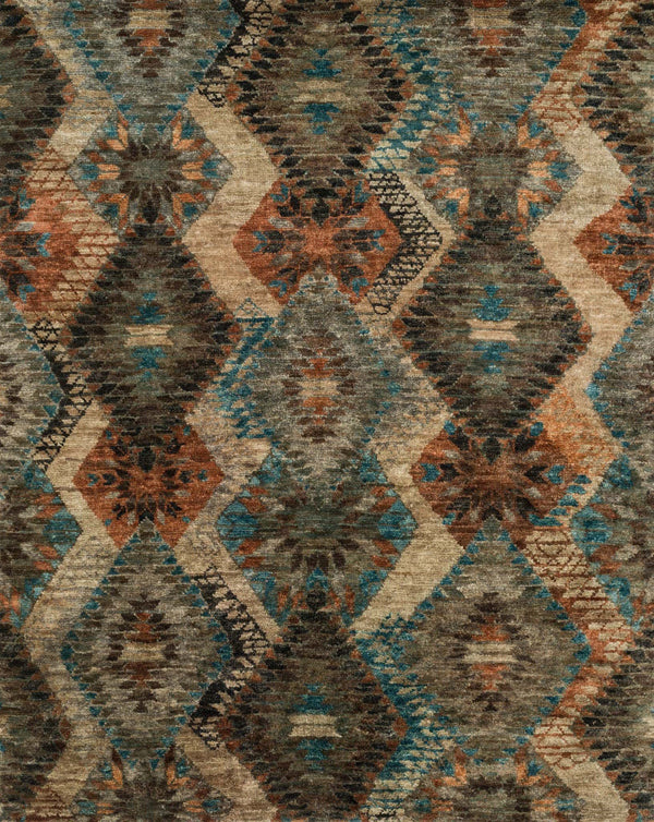 Blue & Brown Hand-Knotted Jute Area Rug - Xavier - Upper Earth