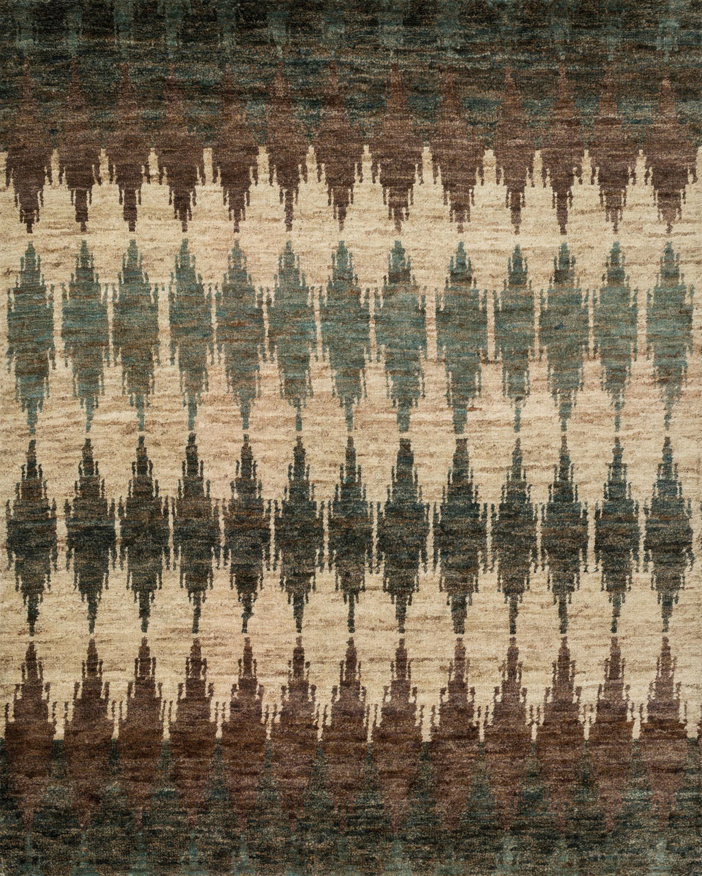 Green & Brown Hand-Knotted Jute Area Rug - Xavier - Upper Earth