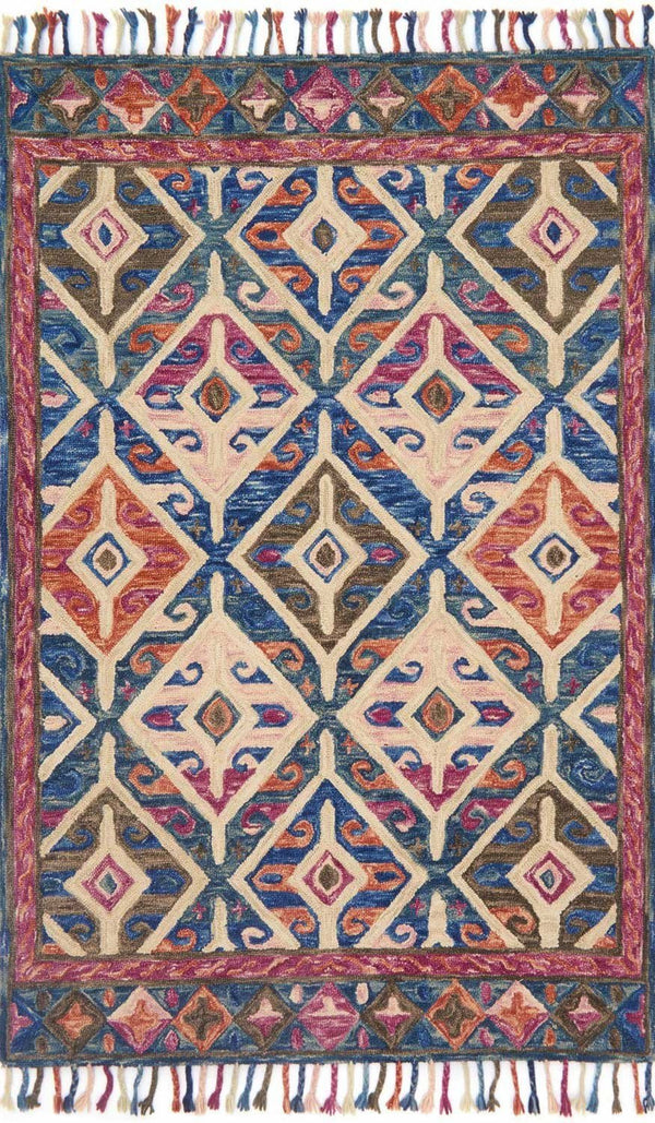 Blue & Pink Wool Area Rug - Zharah - Upper Earth