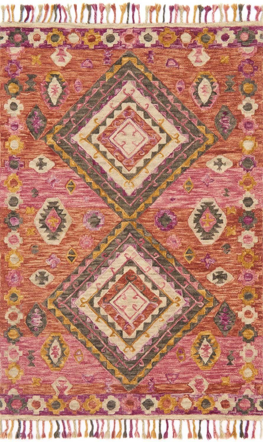 Red & Pink Wool Area Rug - Zharah - Upper Earth