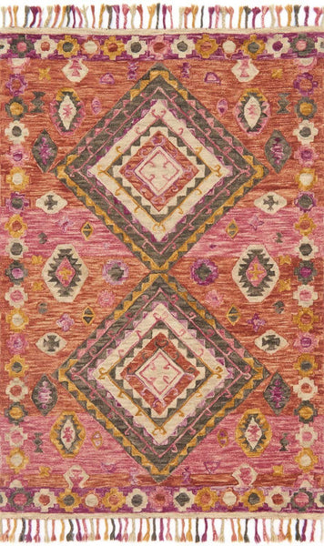 Red & Pink Wool Area Rug - Zharah