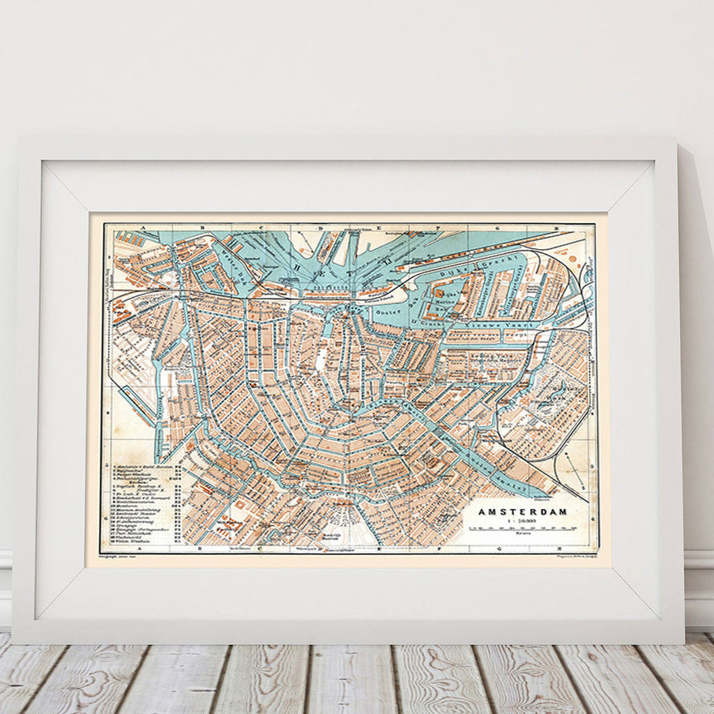 Canvas Print of Antique Map of Amsterdam - Upper Earth