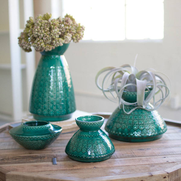 Set of Four Blue Green Ceramic Vases - Upper Earth