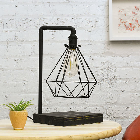 Black Table Lamp with Wood Base and Diamond Cage - Upper Earth