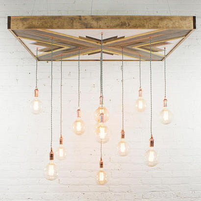 Geometric Wood Art Chandelier - Upper Earth