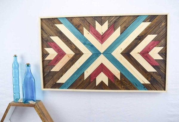 Red and Blue Wood Wall Art Hanging