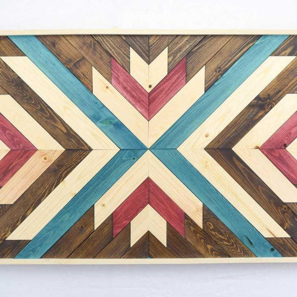 Red and Blue Wood Wall Art Hanging - Upper Earth