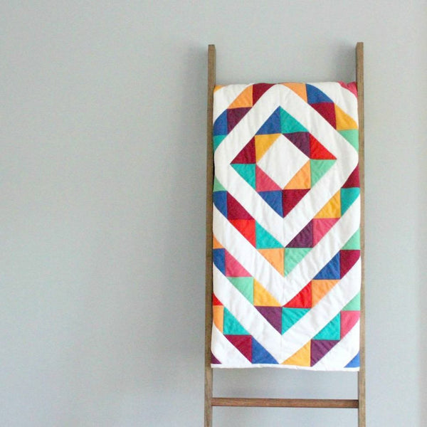 Baby Quilt made from Organic Cotton - Rainbow Road Modern Patchwork Design - Upper Earth