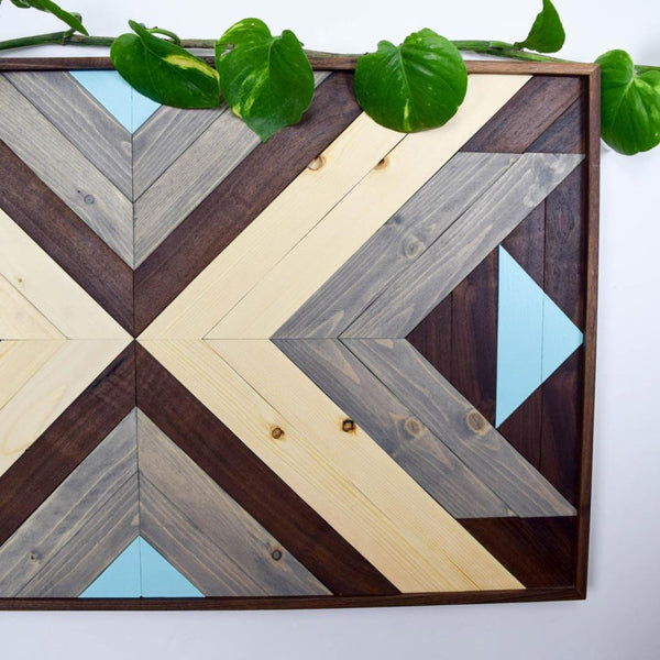Boho Teal Wood Wall Art