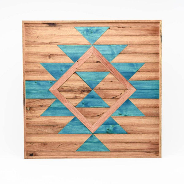 Boho Abstract Wood Wall Art - Blue
