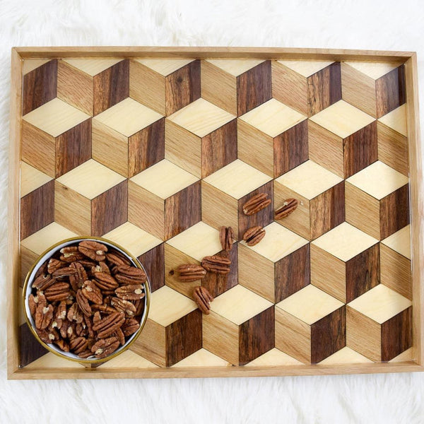 Wooden Geometric Serving Tray