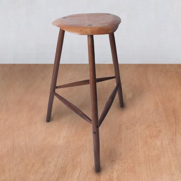 Mid Century Wooden Stool - Quilted Maple