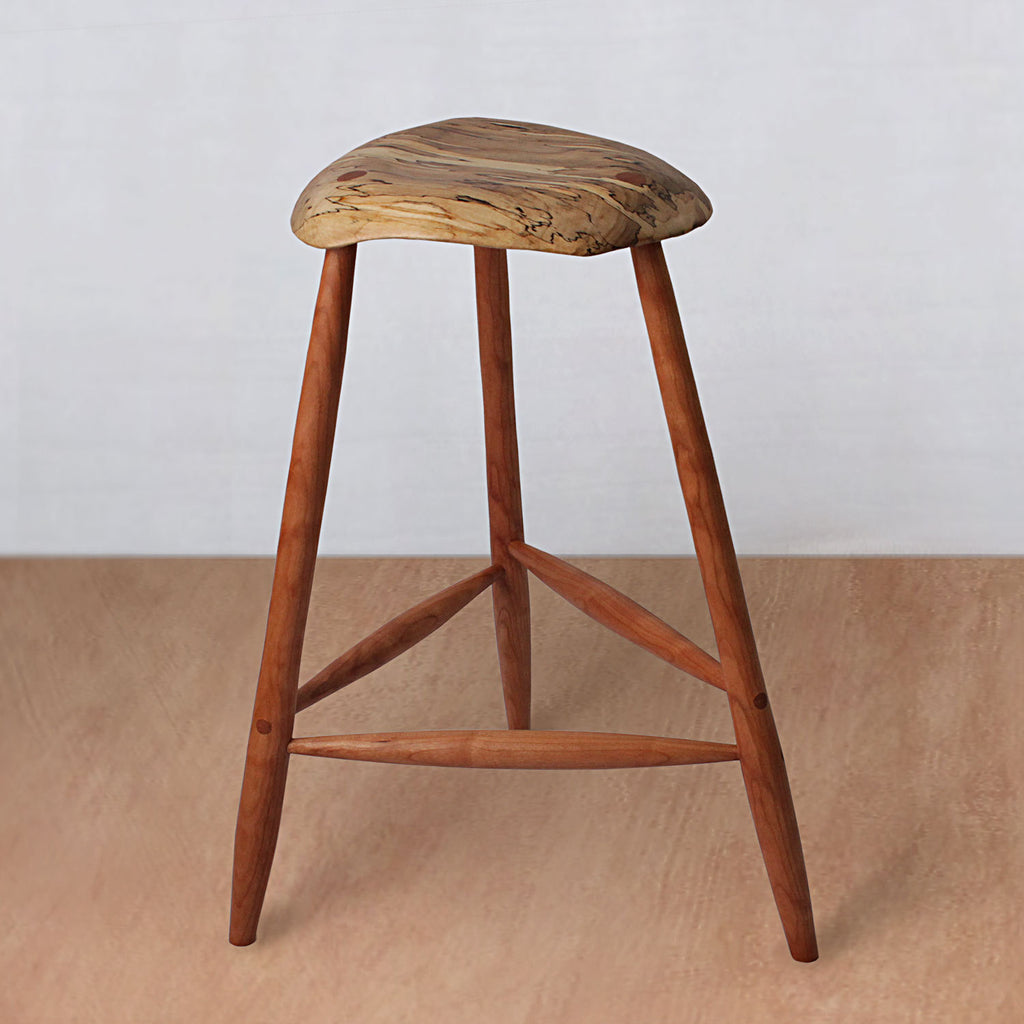 Mid Century Wooden Stool - Spalted Maple