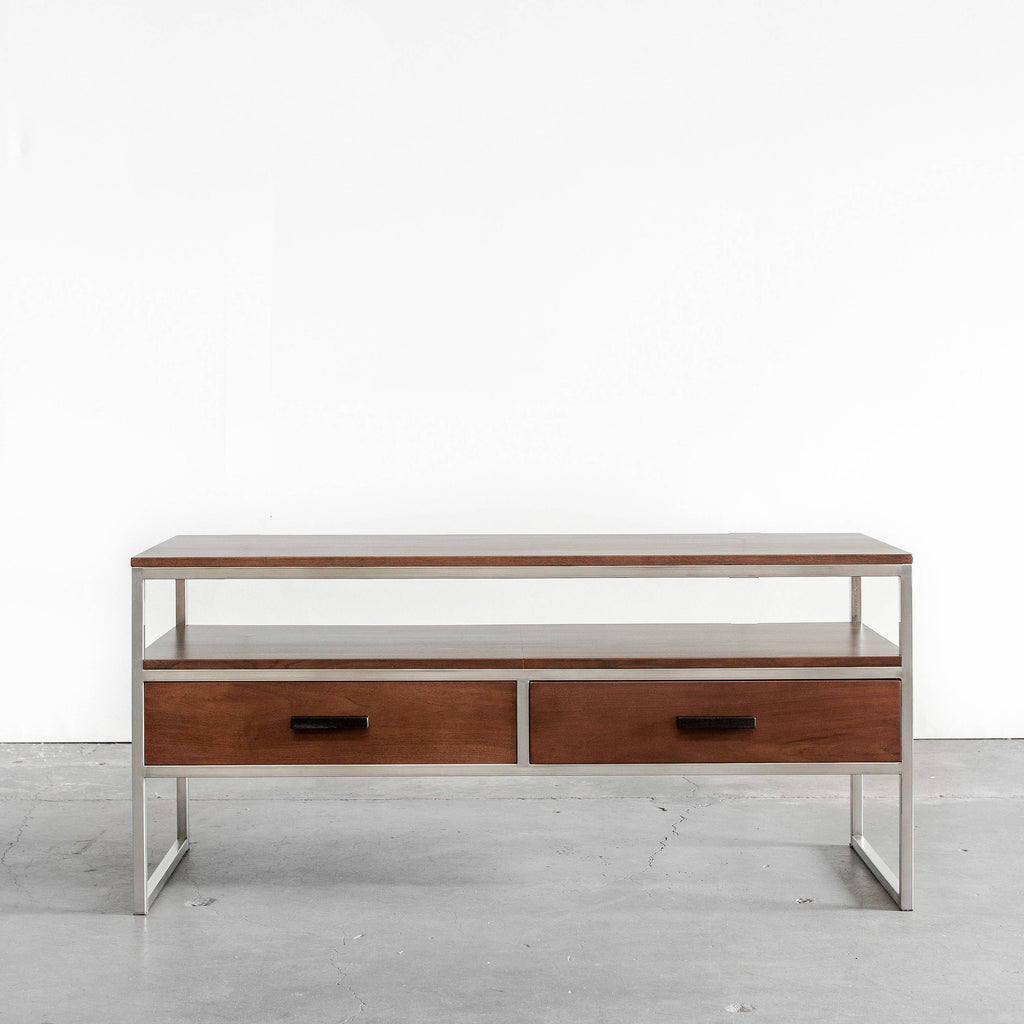 Walnut & Stainless Steel TV Stand