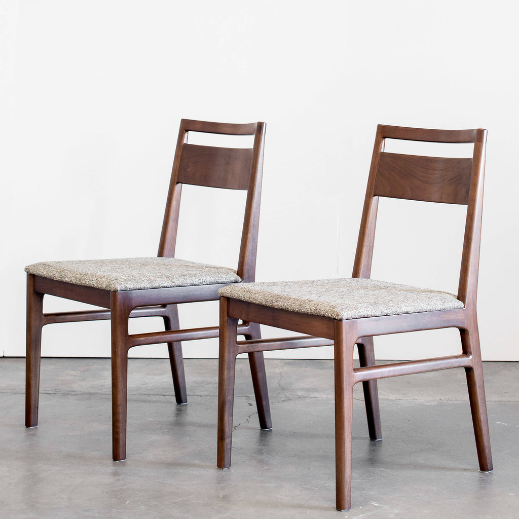 Set of Two Walnut Dining Chairs