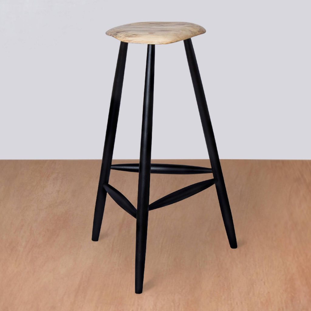 Mid Century Wooden Stool - Maple - Upper Earth