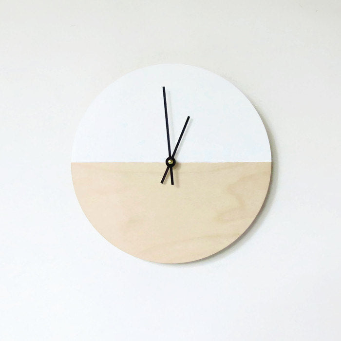 Modern Clock in Wood & White