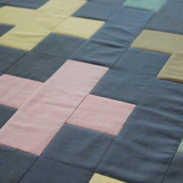 Baby Quilt made from Organic Cotton - Crosses in Yellow, Pink, and Green on Gray - Upper Earth