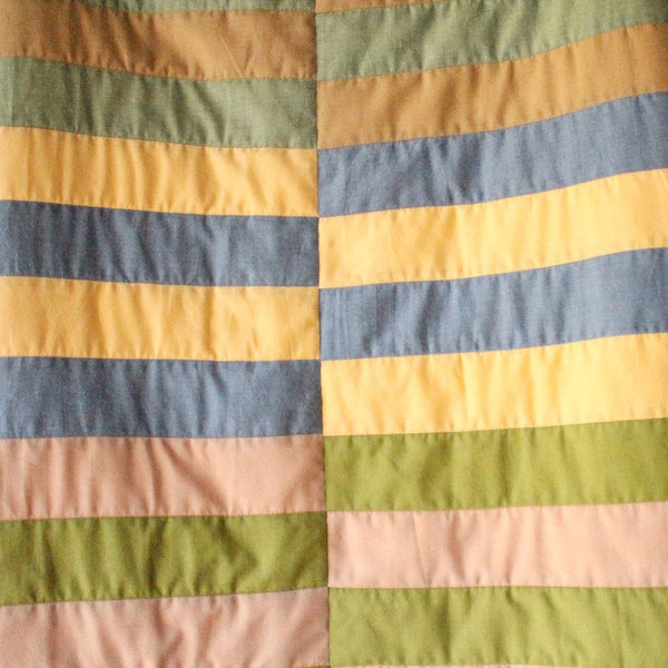 Baby Quilt made from Organic Cotton - Orange, Yellow, Pink Stripes - Upper Earth