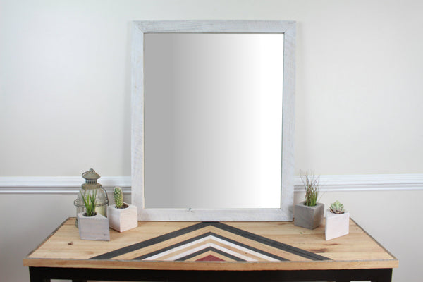 Reclaimed Wood Wall Mirror - White
