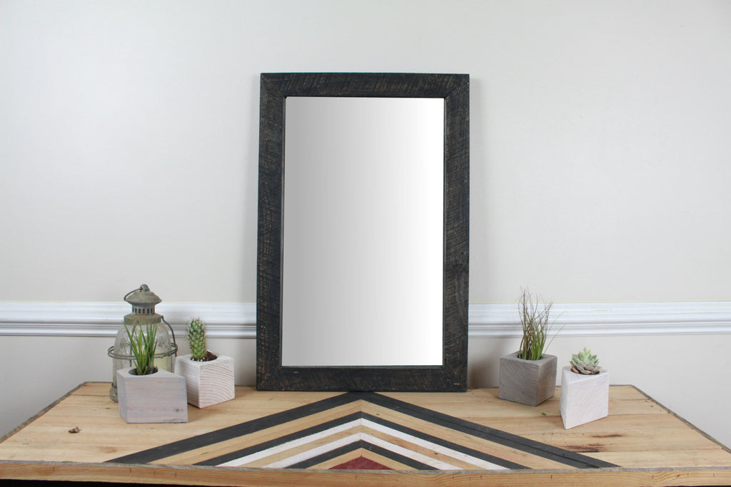 Reclaimed Wood Wall Mirror - Black - Upper Earth