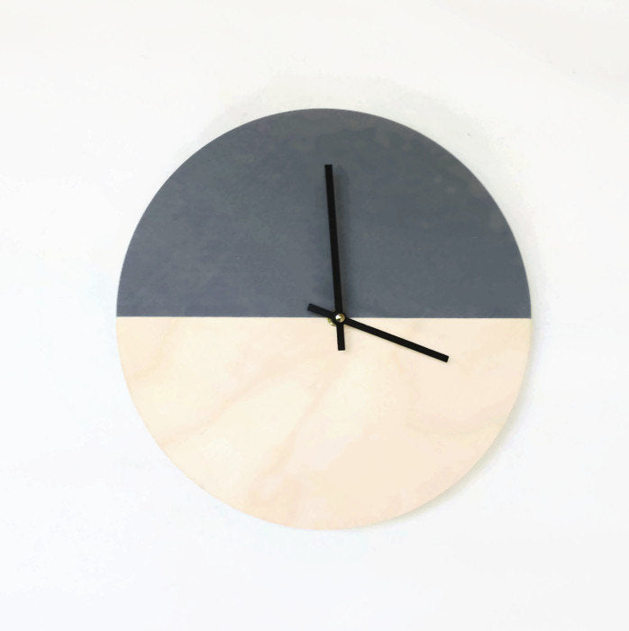 Modern Clock in Wood & Gray - Upper Earth